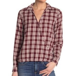 Madewell Arion Plaid Shirt Red & White CrissCross